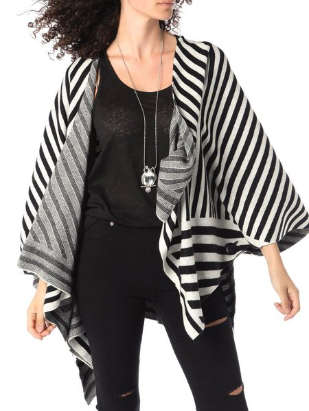 Black Knitted Stripes Casual Cape