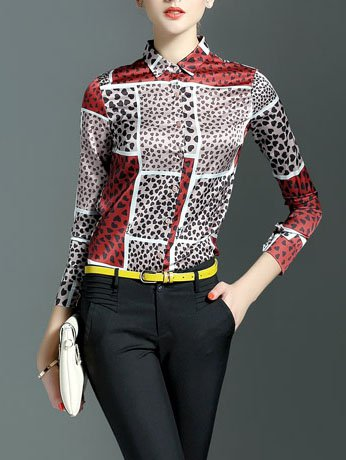 Multicolor Animal Print Printed Long Sleeve V Neck Blouse