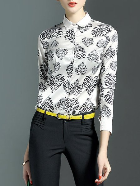 White Printed Long Sleeve V Neck Floral Blouse