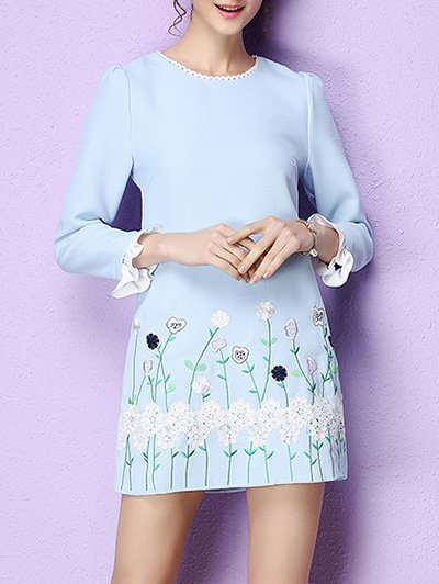 Blue Floral Floral-embroidered Girly Mini Dress