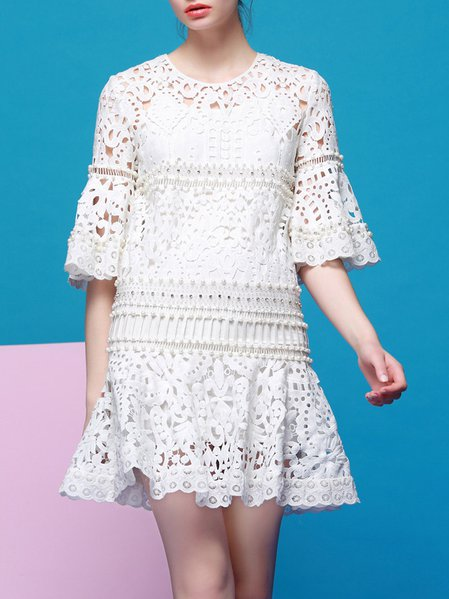 White Plain Beaded Half Sleeve Lace Mini Dress