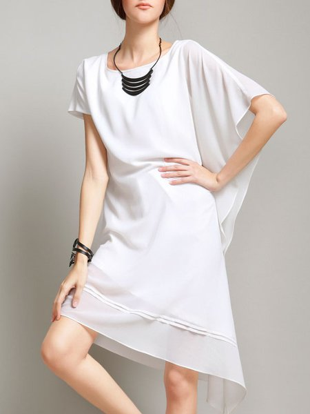 Casual Asymmetric Raglan Sleeve Shift Midi Dress