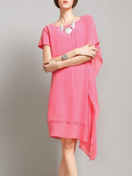 Pink Shift Raglan Sleeve Asymmetric Midi Dress