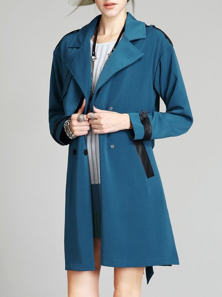 Dark Blue High Temperature Setting 3/4 Sleeve Trench Coat