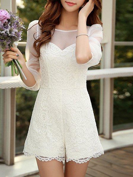 White Sweet Polyester Romper