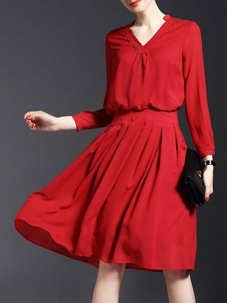 Casual Pleated Long Sleeve Midi Dress