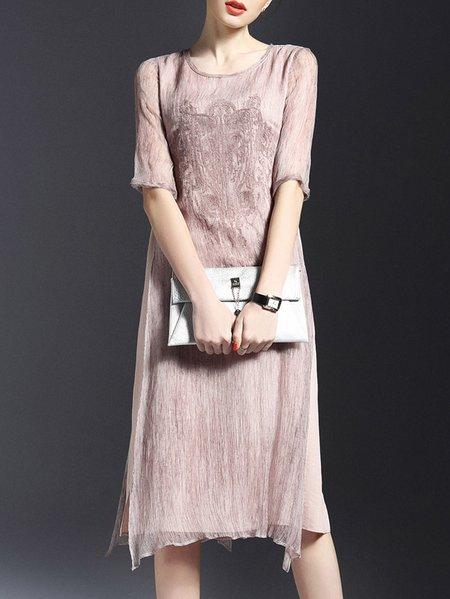 Half Sleeve Embroidered A-line Casual Midi Dress