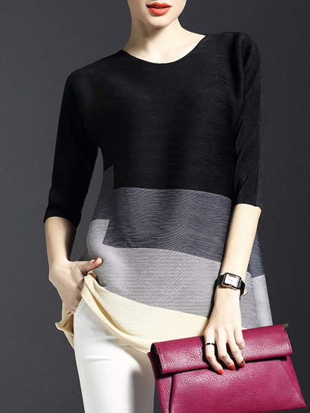 3/4 Sleeve Casual Polyester Color-block Crew Neck Tunic