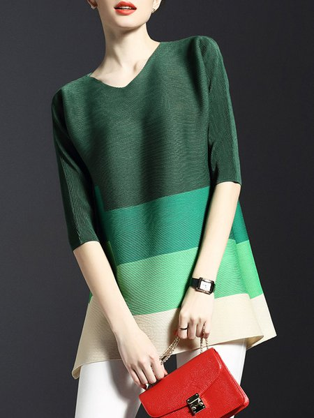 Green Polyester Color-block Casual Tunic