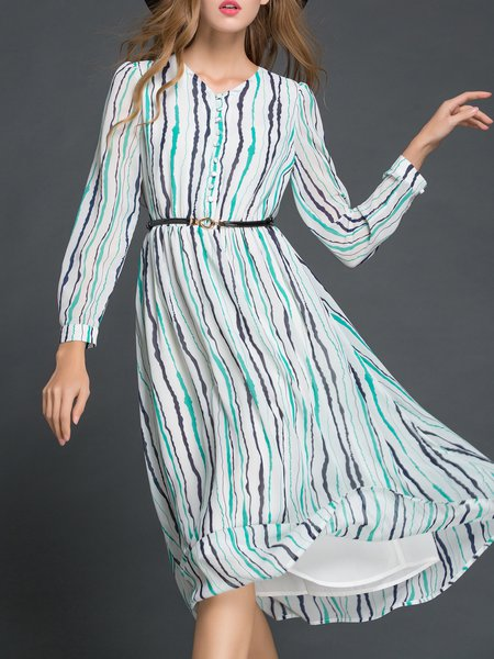 3/4 Sleeve Street Stripes Midi Dress