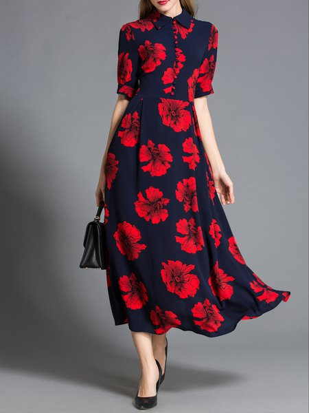 Street Short Sleeve Floral-print Cotton-blend Maxi Dress