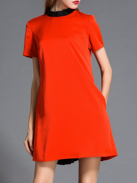 Paneled A-line Short Sleeve Simple Mini Dress