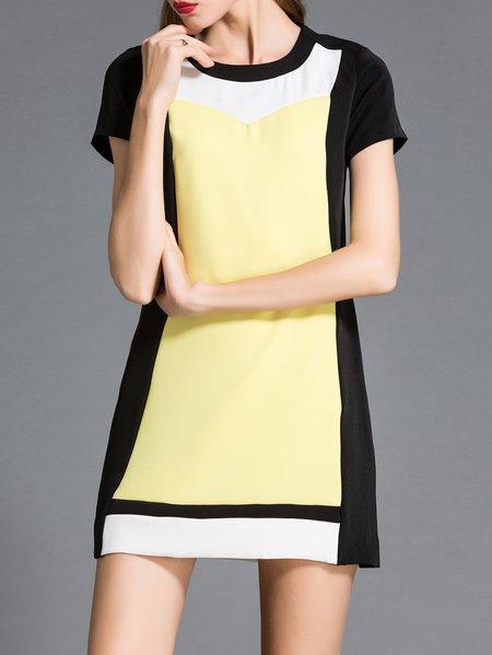 Crew Neck Sweet Polyester Short Sleeve Color-block Mini Dress