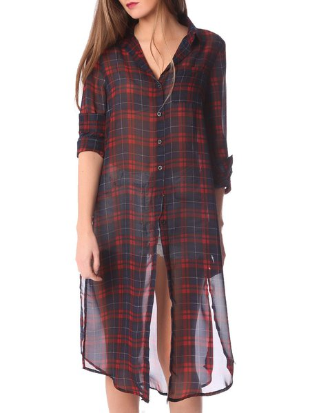Red Checkered/Plaid Slit Long Sleeve Tunic