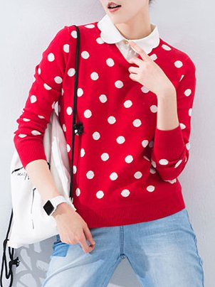 Red Peter Pan Collar Polka Dots Long Sleeve Cotton Sweater ...