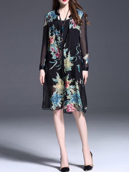 Black Floral-print Silk Long Sleeve H-line Midi Dress