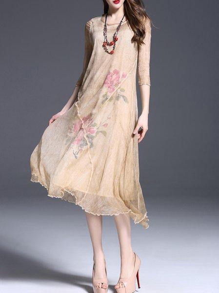Vintage Half Sleeve Asymmetric Midi Dress