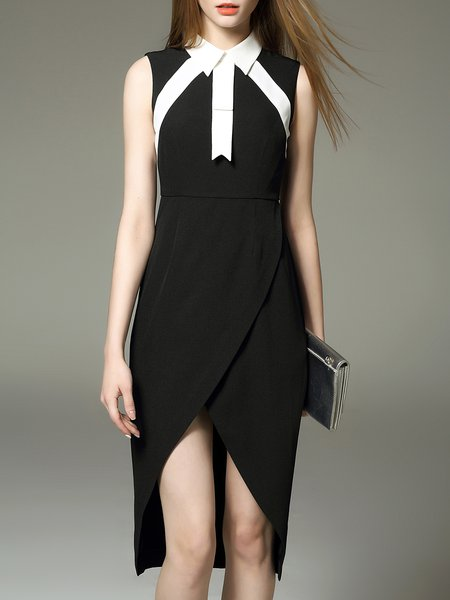 Black Color-block Sheath V Neck Casual Midi Dress