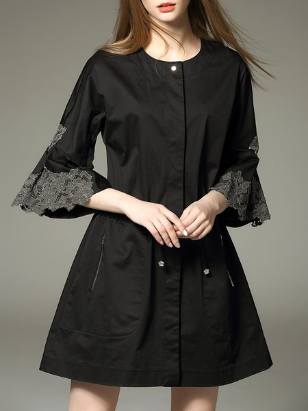 Black Plain Cotton Half Sleeve Mini Dress