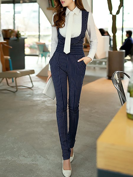 Dark Blue Work Sheath Printed Stripes Jumpsuit