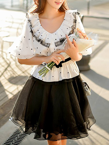 White Ruffled Polyester Half Sleeve Blouse