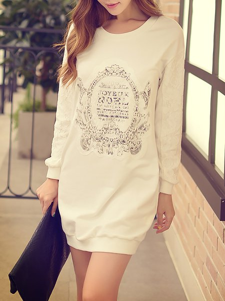 White Casual Cotton Crew Neck Mini Dress