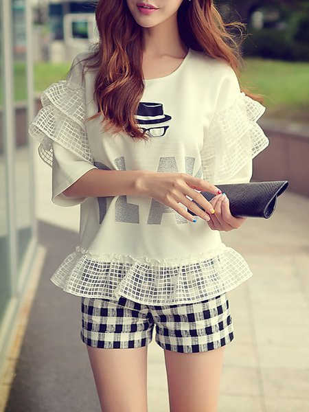 Ruffled Casual Frill Sleeve Floral Sweatshirt