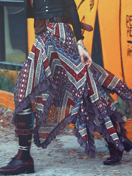 Red Tribal Boho Asymmetric Maxi Skirt