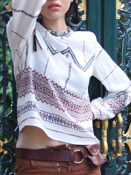 Multicolor Printed Boho Long Sleeved Top