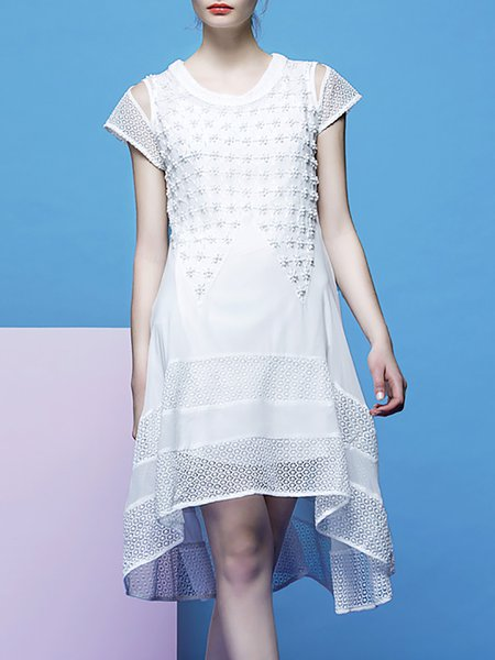 White Short Sleeve Plain Beaded Asymmetrical Midi Dress