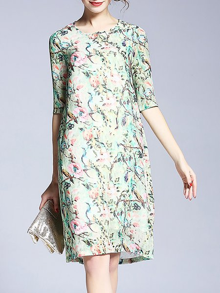 Green Floral-print Crew Neck Floral Half Sleeve Midi Dress