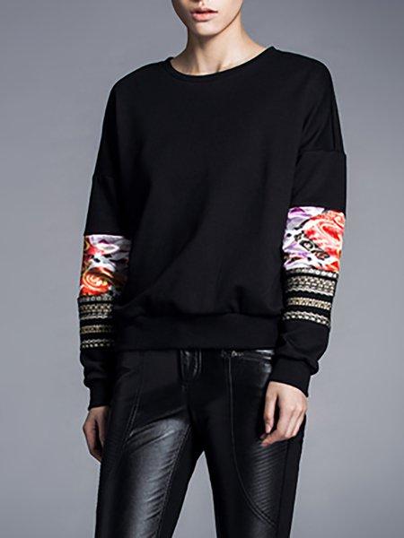 Black Paneled Long Sleeve Sweatshirt