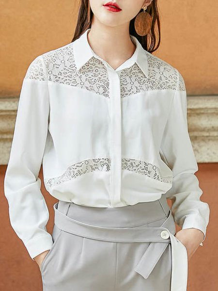 White Plain V Neck Casual Chiffon Blouse
