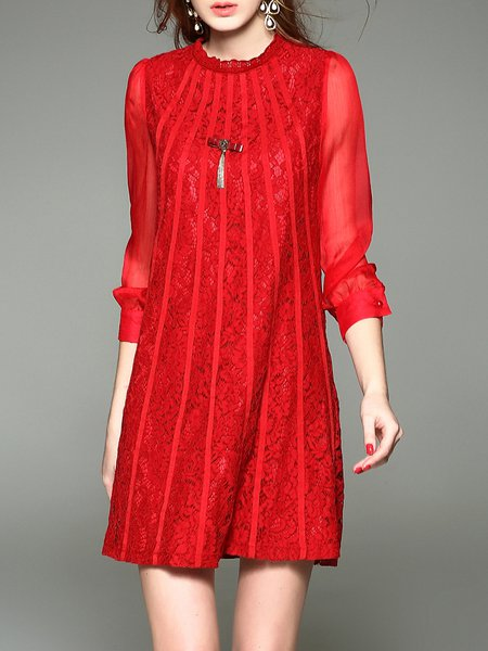 Red Lace H-line 3/4 Sleeve Plain Mini Dress