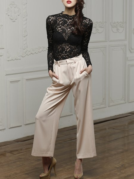 Beige Polyester Plain Casual Pockets Wide Leg Pants