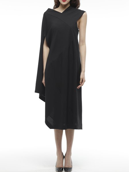 Black Polyester Single Sleeve Plain Midi Dress