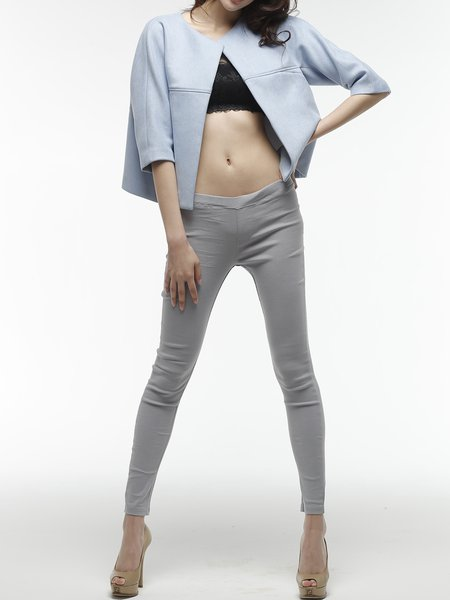 Blue Polyester H-line Plain Casual Cropped Jacket