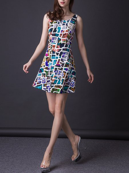 Multicolor Polyester A-line Sleeveless Mini Dress