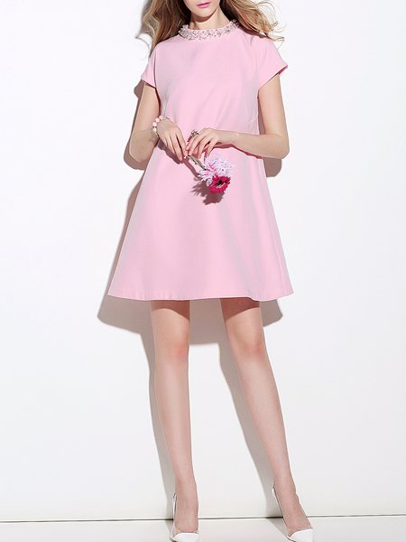 Short Sleeve Girly Shift Mini Dress