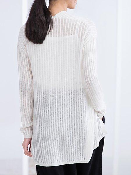 Plain Knitted Cardigan Pattern : Cream Cotton Knitted Plain Long Sleeve Cardigan - StyleWe.com