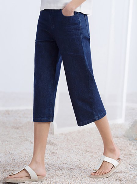 Dark Blue H-line Simple Plain Wide Leg Pants