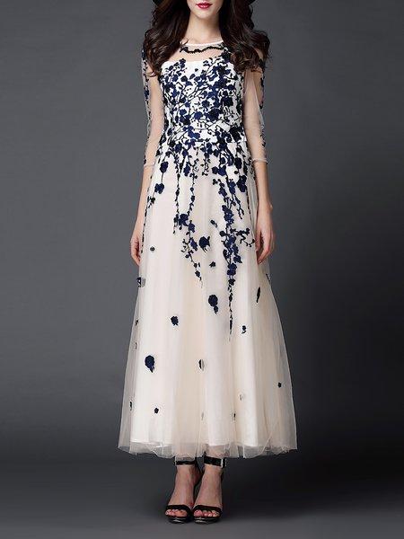 Blue 3/4 Sleeve Floral Evening Dress