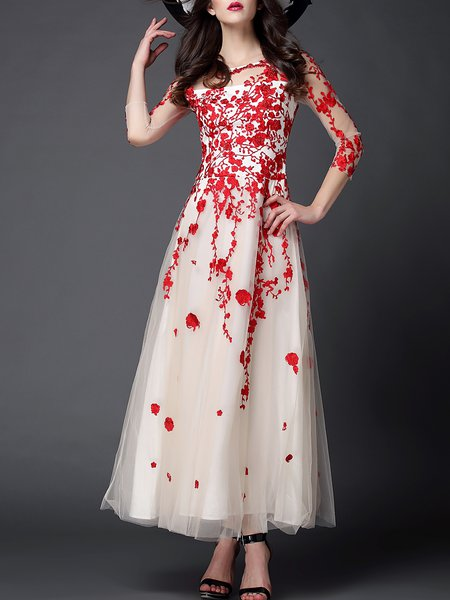 Red Embroidered Evening Floral A-line Evening Dress