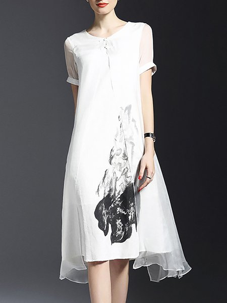 White A-line Crew Neck Short Sleeve Silk Midi Dress