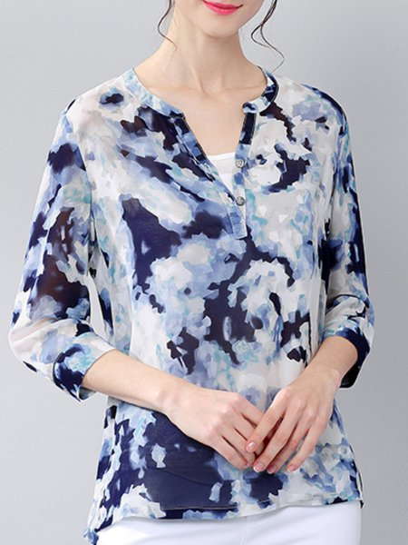 Printed 3/4 Sleeve Chiffon Casual Blouse