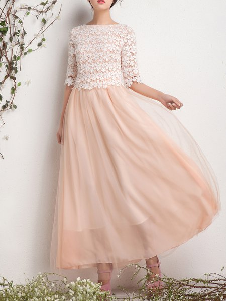 Champagne Sweet A-line Floral Maxi Dress