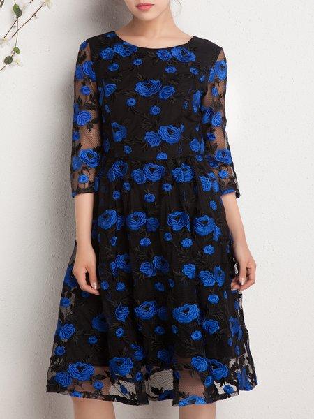 Black Elegant Crew Neck Midi Dress
