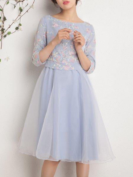 A-line Boho Floral Half Sleeve Embroidered Midi Dress