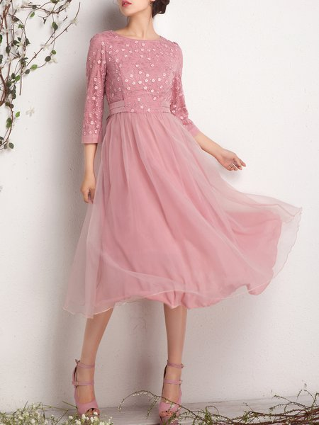 Pink Crew Neck 3/4 Sleeve Midi Dress