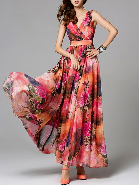 Red V Neck Floral-print Boho Floral Maxi Dress